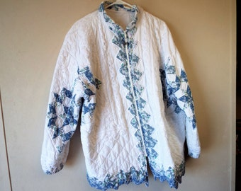 Vintage Blue Star Jacket Hand Pieced and Quilted with Battenburg Lace