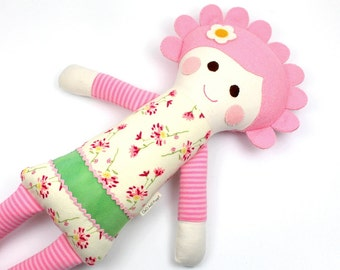 soft jersey doll | Cleo snuggle doll | pink knit cloth doll | girl rag doll | handmade doll | girl fabric doll