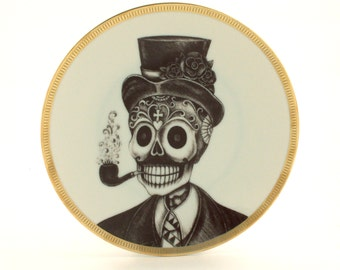 Sugar Skull Altered Vintage Porcelain Plate Man Pipe Hat Day of the Dead Mexico Halloween Dios de los Muertos Wall Decoration