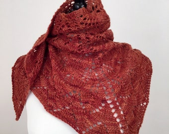 Brown BFL hand knit shawl