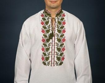 Ukrainian embroidered shirt. Vyshivanka linen. Ukrainian clothes, Mens vyshyvanka. Embroidery stitch on linen, Red Guelder Rose
