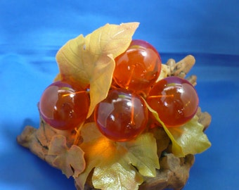 "Lucite Acrylic Bright Orange Grape Cluster on a Chunk of Beautiful  Burl Wood ... 1960 Coffee Table ""Must Have""."