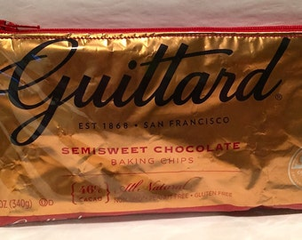 Guittard Chocolate Chips Wrapper Up-cycled Zippered Bag/Pouch