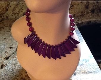 Vintage Art Deco Jewelry Necklace Choker Purple Bead