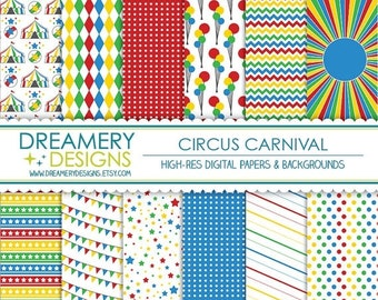 40% OFF SALE - Circus Carnival Digital Papers - INSTANT Download - Printable JPGs - Scrapbook Paper Pack, Birthday, Invitations