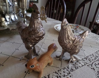 "7""-Vintage Unusually Large Heavy Solid Silverplate Chicken/Hen/Rooster/Bird Statue/Figurine-Blue Gem Eyes"