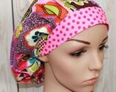 Devorppa Noir with Pink Dot Band,Bouffant Women's Scrub Hat,Surgical Scrub Hat, OR Nurses Scrub Hat, Scrub Cap