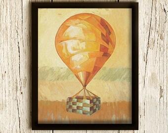 Art Print Yellow Orange Hot Air Balloon, Giclee, Mixed Media Wall Art, Flying Balloon / 8x10inches