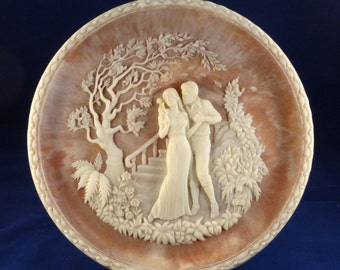The Kiss Sculptured Plate by Roger Akers, Baroque Cameo Art Plate, The Romantic Poets Collection, Incolay Stone