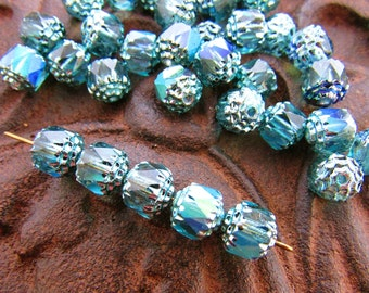 8mm  Iridescent AB Teal Blue Cathedral Czech Glass Fire Polished Beads - 10