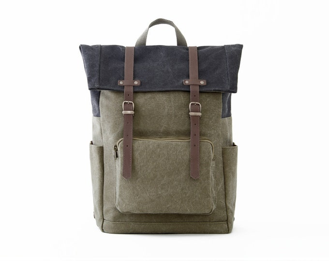 Laptop Backpack / Casual Daypacks / Canvas Green / CITYCARRY