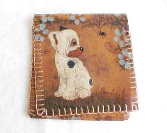 Vintage Leather Pouch or Wallet - Made in Czechoslovakia - Small Hand Painted Folding Etui - Business Card Holder - Scared Puppy and Spider
