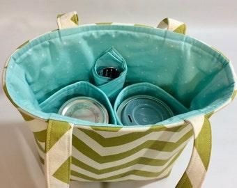 Mason Jar Carrier Bag - Pint 2-jar Jars to Go - Green chevron lunch tote cozy
