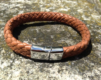 Mens Leather Bolo Braid Bracelet with Stainless Steel Clasp Great gift for Hipster Men