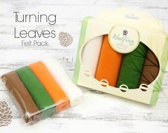 TURNING LEAVES Felt Pack // Fall Wool Felt // Fall Felt Pack // Thanksgiving Variety Pack // Felt Gift Pack