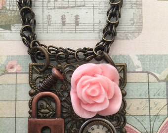 The Olden Days Mixed Media Necklace On Etsy Victorian Themed Rose Necklaces Clock Face Skeleton Key Ornate Snake Chain Etsy Authentic