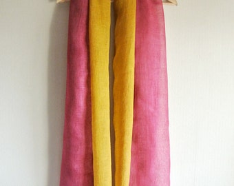 Natural dyed deep pink and yellow 2colors faced Linen scarf