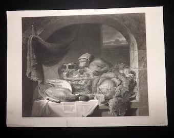 After Lance 1851 Art Journal Print. Red-Cap, Monkey.