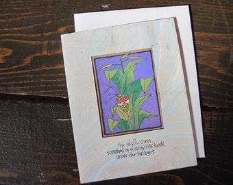 The Idyllic Corn -- ORIGINAL hand-drawn card, blank inside, haiku, suminagashi (#NCC003)