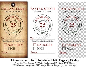 CU OK Primitive Naughty or Nice Printable Christmas Tags CU4CU Tea Stained