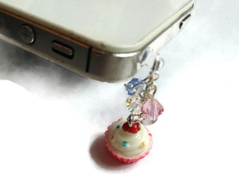 Clearance, Cupcake Cellphone Charm, Cell Phone Jewelry, Fun Gift, Swarovski Crystals, Cupcake Dustplug