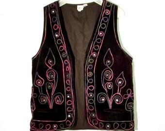 vintage ethnic vest embroidered velvet vest