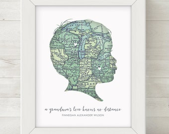 CUSTOM Child Silhouette Map Wall Art, ANY TEXT, Grandma Gifts, Mothers Day Gift, Personalized Mom Gifts, Grandparents Day Gift Grandpa Gift