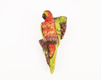 Red Parrot Wall Pocket - Vintage Patina - Classic, Painted Chalkware Wall Hanging - Deep Reds, Browns and Greens - Wall Art Collectible