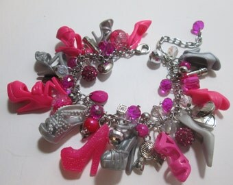 Fuchsia  and Silver   Barbie Shoe Charm Bracelet with DIVA Charms / Item 1-201