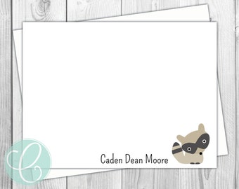 Raccoon Woodland Animals Flat Note Cards - Set of 20