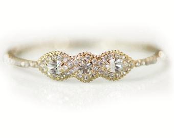 Bridal Bracelet Wedding Jewelry, Gold Crystal Art Deco Coil Cuff Bracelet with Jeweled Rhinestone Brooch, Bridemaids, Camilla Christine JONA