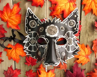 Steampunk Leather Wolf Mask, Black and Silver, Wolf, Role Play, Theater Prop, Costume, Cosplay, Garb, Gear, animal mask, steampunk animal