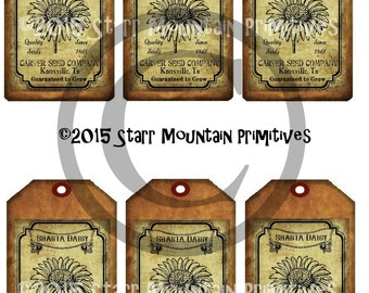 Primitive Daisy Seed Seeds Packet Jpeg Digital Hang tags