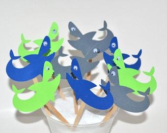 12 Shark Cupcake Toppers / Shark Birthday / Shark Invitation / Shark Party Decor / Shark Birthday Party /Shark Week/ Shark /Girl Shark Party
