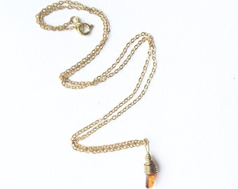 Amber and 14k Gold necklace