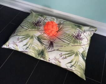 Camping dog bed, Botanical Pet Bed Cover, 25x35 Tropical Dog Bed Cover, Medium Pet Pillow Cover, Green Pet Bedding, Cat Bed Pillow, All size