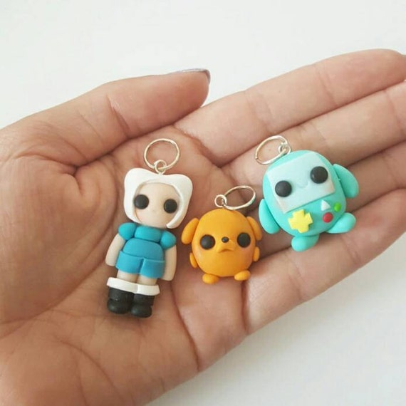 BFF Adventure Time Set, Kawaii Clay Charm, Jake Polymer Clay Pendant, Adventure Time, Finn, BMO, clay pendant, Kawaii, Chibi, Clay Charm