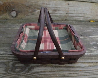 Serving basket tray small square Walnut wood