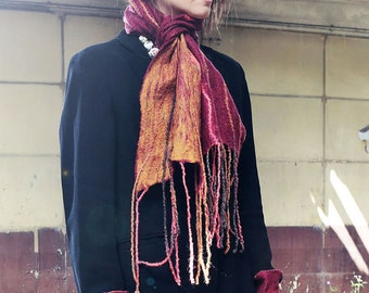 Felted Scarf Purple and Yellow.Handmade in Ireland from Superfine Merino Wool