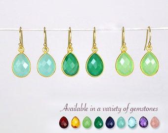 Apple Green Chalcedony earrings, bezel set Earrings, dangle Earrings, August Birthstone, tear drop earrings, bridesmaid earrings, peridot