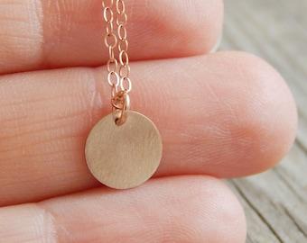Rose Gold Disc necklace, Monogram rose gold necklace, Personalized necklace, Initial rose gold necklace by viartvi