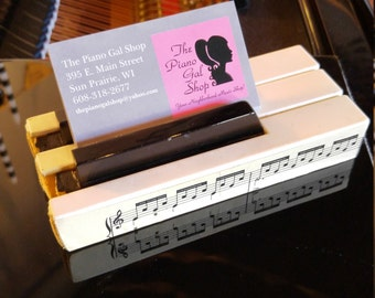 Piano Keys Business Card Holder - Custom Business Card Holder - Piano Teacher Business Card Holder - Musician Gift - Upcycled Piano Keys