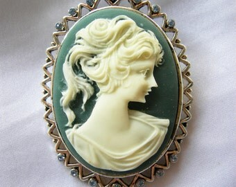 Blue and White Cameo and Rhinestone Brooch | Vintage