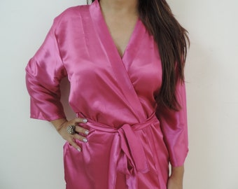 Code: H-17 Satin Solid Color Kimono Crossover patterned Robe Wrap - Bridesmaids gift, getting ready robes, Bridal shower favors, baby shower