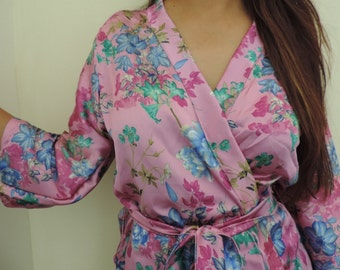 Code: H-20 Satin Floral Kimono Crossover patterned Robe Wrap - Bridesmaids gift, getting ready robes, Bridal shower favors, baby shower