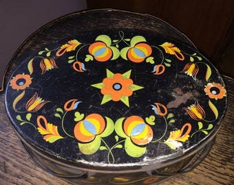 Retro Toleware Lunchbox Oval w Handles Bright Graphics Lithographed Tin