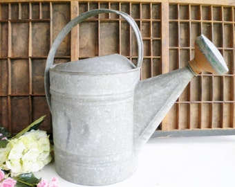 Vintage Metal Watering Can With Nozzle/Galvanized Water Can Number 10/ Large Size/Rusty Primitive/ Home Decor/ Garden/ Wedding/Collectable
