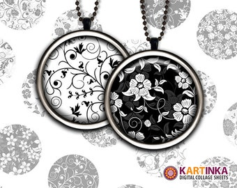 1 inch (25mm), 1.5 inch Printables FLORAL PATTERNS Black White Downloads Round Images for Pendants Bezel trays Glass cabochon Bottle caps