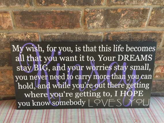 Graduation Quotes Images 265 Quotes: My Wish Personalized Wood Sign Graduation Gift Personalized
