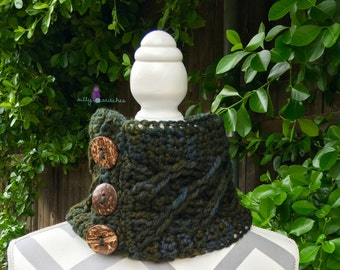 The Myrna Cowl **Crochet Pattern** cabled neckwarmer